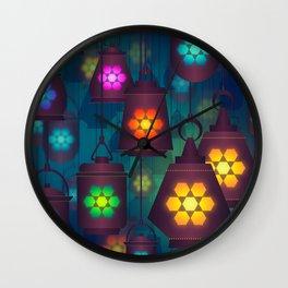 Colorful Lanterns Pattern Wall Clock