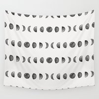 moon phases Wall Tapestries featuring Moon Phases by Andre D