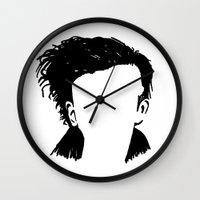 matty healy Wall Clocks featuring Matt Healy Silhuette Drawing by summergirl