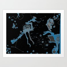 Blue Bird Lizard Art Print