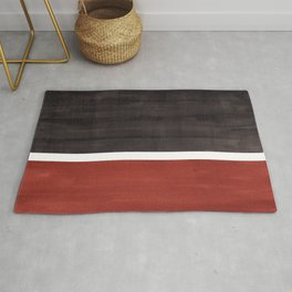 Colorful Bright Minimalist Rothko Color Field Midcentury Modern Brown Black Square Vintage Pop Art Rug