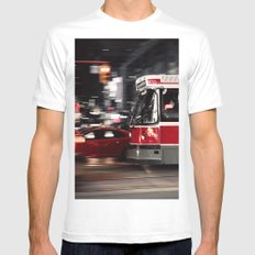 Red buses street Mens Fitted Tee White MEDIUM