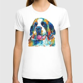 Colorful Saint Bernard Dog by Sharon Cummings T-shirt
