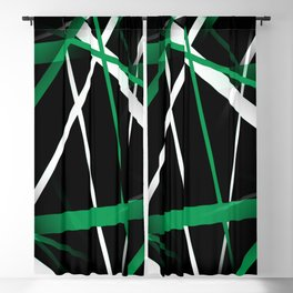 Seamless Aqua Green and White Stripes on A Black Background Blackout Curtain