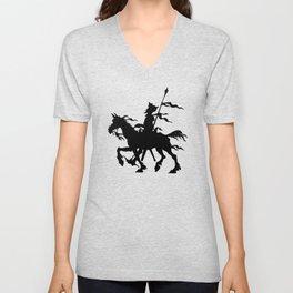 Don Quixote of La Mancha and Rocinante | Don Quixote Silhouette | Black and White | Unisex V-Neck