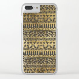 Swanky Faux Gold and Black Hand Drawn Aztec Clear iPhone Case