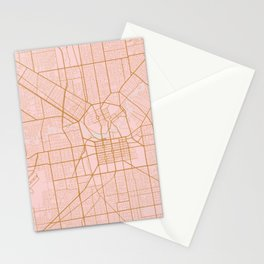 Pink and gold Adelaide map Stationery Cards