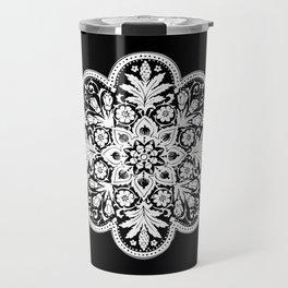 Floral Doily Pattern | Black and White Travel Mug