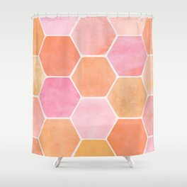 Desert Mood Hexagon Print Shower Curtain