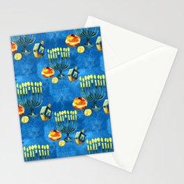 Hanukkah Menorah, Dreidels and Bubbie's Sweet Treats Pattern Stationery Cards