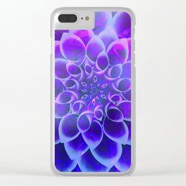 Mindfulness Purple-Pink and Blue Abstract Flower Clear iPhone Case