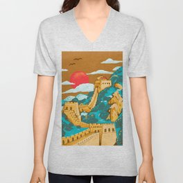 Great Wall of China by Cindy Rose Studio Unisex V-Neck