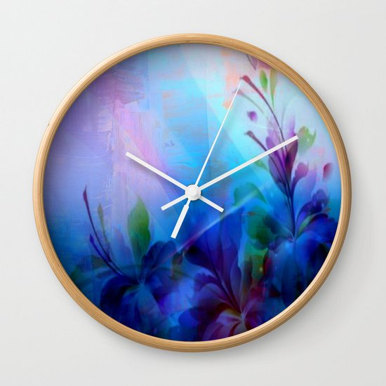 Sunset Painterly Floral Wall Clock