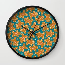 Gingerbread Men on Teal Wall Clock