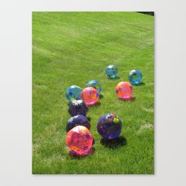 Colorful balls on the grass  Canvas Print