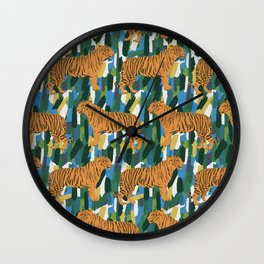 A streak of tigers in a tropical jungle setting illustration Wall Clock