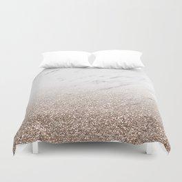 Glitter ombre - white marble & rose gold glitter Duvet Cover