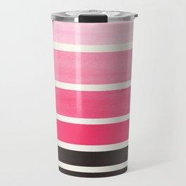 Pink Minimalist Watercolor Mid Century Staggered Stripes Rothko Color Block Geometric Art Travel Mug