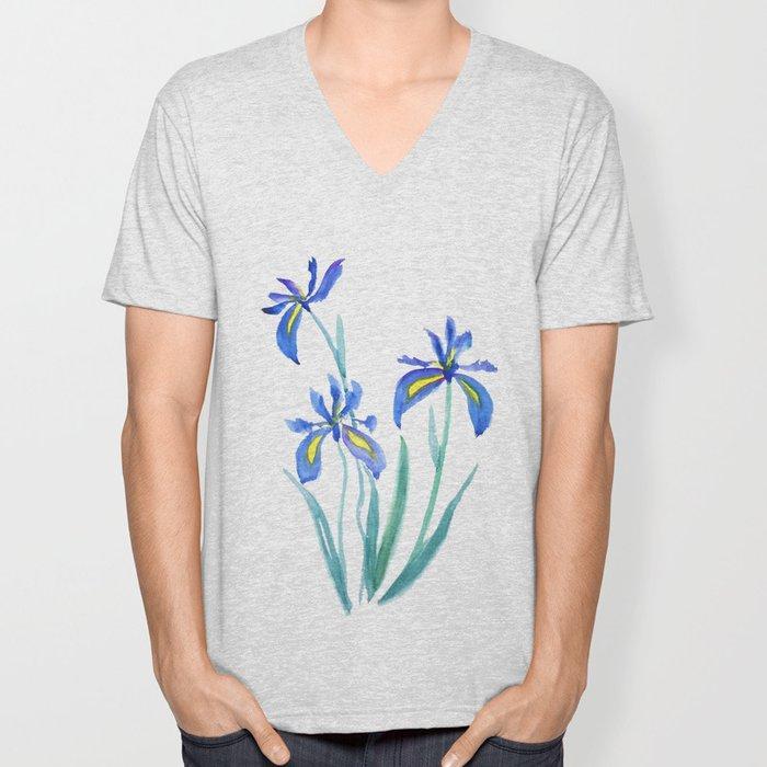 blue iris watercolor Unisex V-Neck