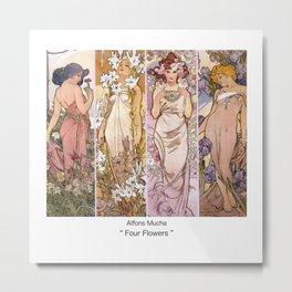 "Alfons Mucha, "" four flowers "" Metal Print"