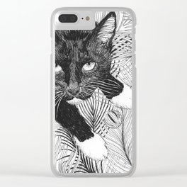 cat in black and white III Clear iPhone Case