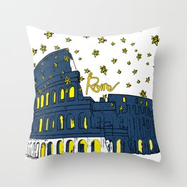 Rome Italy Colosseum Starry night Throw Pillow