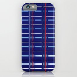 Blue Checkered Pattern (red & white stripes) iPhone Case