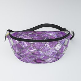 Quatrefoil Moroccan Pattern Amethyst and silver Fanny Pack