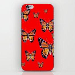 RED ART MONARCH BUTTERFLIES iPhone Skin