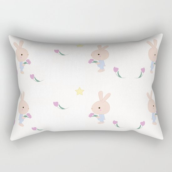 Kids cute cartoon bunny Rectangular Pillow