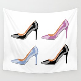 High heel shoes in black, serenity blue and bodacious pink Wall Tapestry