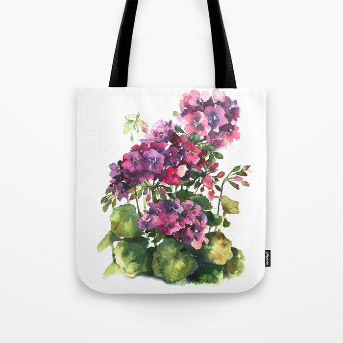 Watercolor geranium red pink flowers Tote Bag