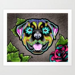 Rottweiler - Day of the Dead Sugar Skull Dog Art Print