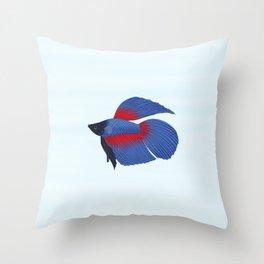 betta splendens royal blue male Throw Pillow