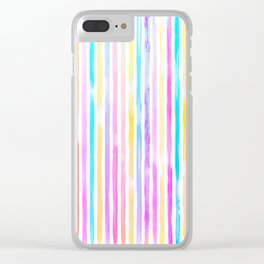 Paint Stroke Stripes  80's Ice Cream Clear iPhone Case