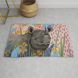BLACK RHINO illustration Rug