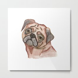 Cute Hand Painted Black Brown Watercolor Pug Dog Metal Print