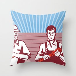 Construction Workers Tradesman Retro Throw Pillow