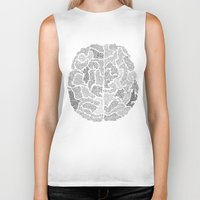 brain Biker Tanks featuring Brain by Albory