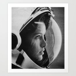 NASA Astronaut, Anna Fisher, black and white photograph Art Print