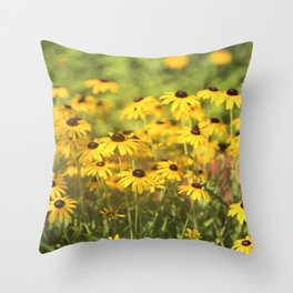 Black Eyed Susans Triptych Throw Pillow