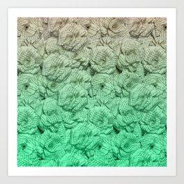 Pastel Green Ombre Book Flowers Art Print