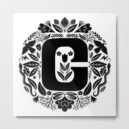 Letter C monogram wildwood Metal Print
