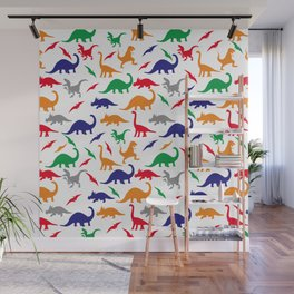 Colorful Dinos in Green, Grey, Red, Blue Yellow Wall Mural