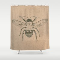 bee Shower Curtains featuring Bee by Morgan Ofsharick - meoillustration
