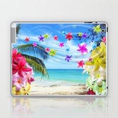 Tropical Beach and Exotic Plumeria Flowers Laptop & iPad Skin