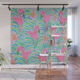 Flamingo Jungle Party Print Wall Mural
