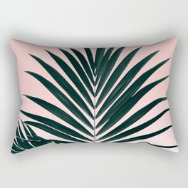 Tropical Green palm tree leaf blush pink gradient photography Rectangular Pillow