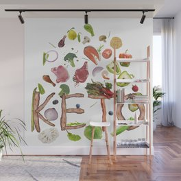 Ketogenic or keto diet  letters from bacon and food ingredients  isolated on white background Wall Mural