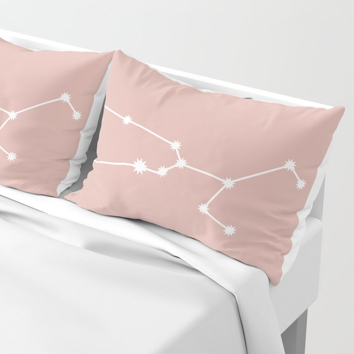 Taurus Zodiac Constellation - Pink Rose Pillow Sham